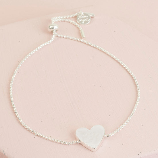 Box Chain Silver Heart Bracelet