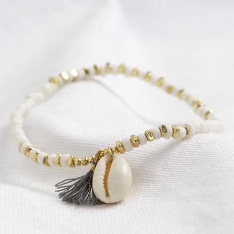 White Beaded Shell Charm Bracelet