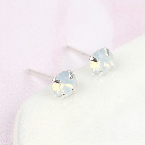 White Swarovski Crystal Stud Earrings