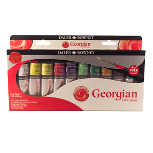 Georgian Oil Colour Studio Set 10x38ml Tubes + Brush