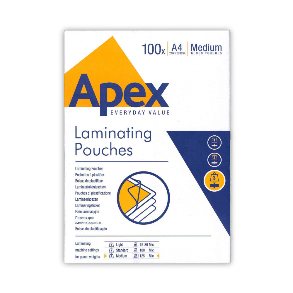 Fellowes Apex A4 Laminating Pouch 2x125mic