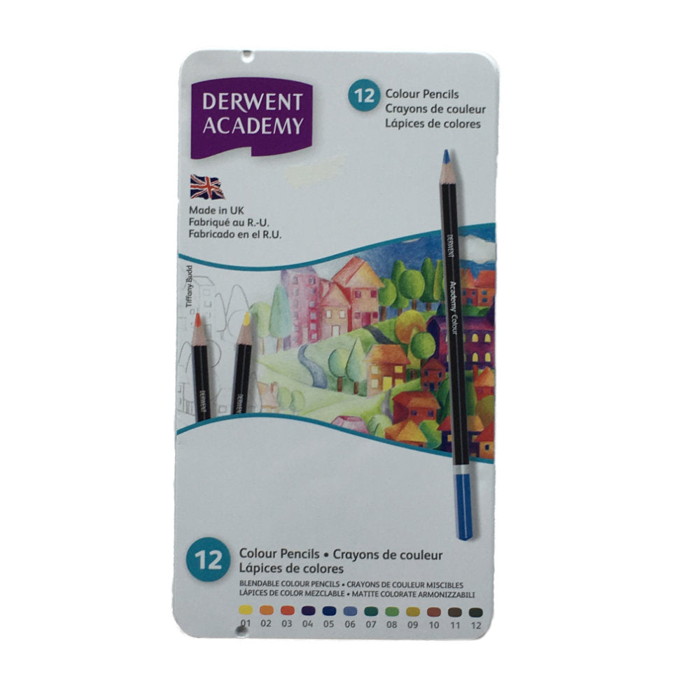 Derwent Academy Colour Pencils 12 Tin
