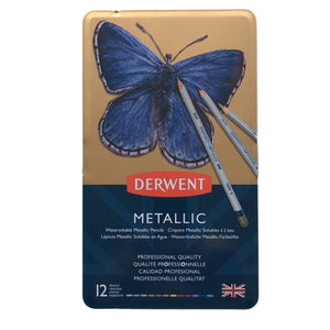 Derwent Metallic Watersoluble Pencil Tin of 12