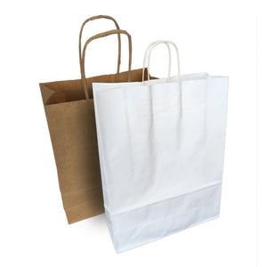 "Twisted Handle Kraft Paper Bags Brown/White 12""x17"""