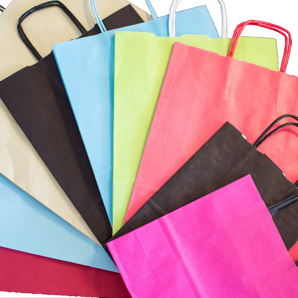 Twisted Handle Kraft Paper Bags Coloured 10
