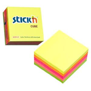 Sticky Notes Cube 76x76mm Neon Assorted