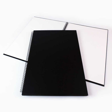 A2 Portrait Black Cloth Hardbacked Sketchbook (Wire-o) 92 pages, 140gsm