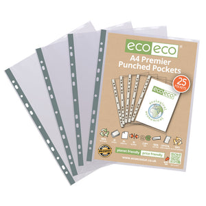 Premier A4 100% Recycled Punched Pockets