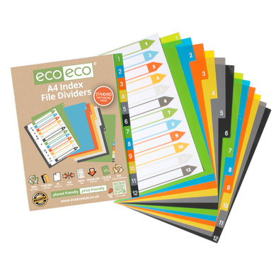 A4 Index File Dividers 12-Part 50% Recycled