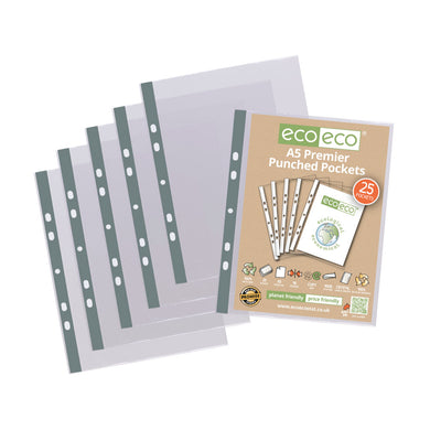 Premier A5 100% Recycled Punched Pockets Pack 25