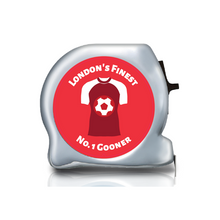 Load image into Gallery viewer, arsenal gifts, football themed gift ideas, football gifts, personalised football gifts, personalised football team themed presents, funky tape measure, personalised tape measure, personalised gift ideas, gifts for football fans, football themed gifts