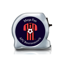 Load image into Gallery viewer, boiurnemouth afc, football themed gift ideas, football gifts, personalised football gifts, personalised football team themed presents, funky tape measure, personalised tape measure, personalised gift ideas, gifts for football fans, football themed gifts