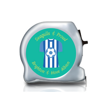 Load image into Gallery viewer, football themed gift ideas, football gifts, personalised football gifts, personalised football team themed presents, funky tape measure, personalised tape measure, personalised gift ideas, gifts for football fans, football themed gifts