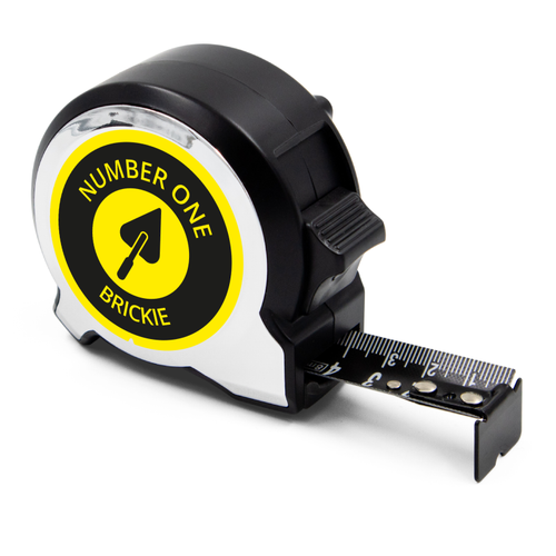 Personalised Black Edition 5m-16ft x 25mm Tape Measure - No1 Brickie