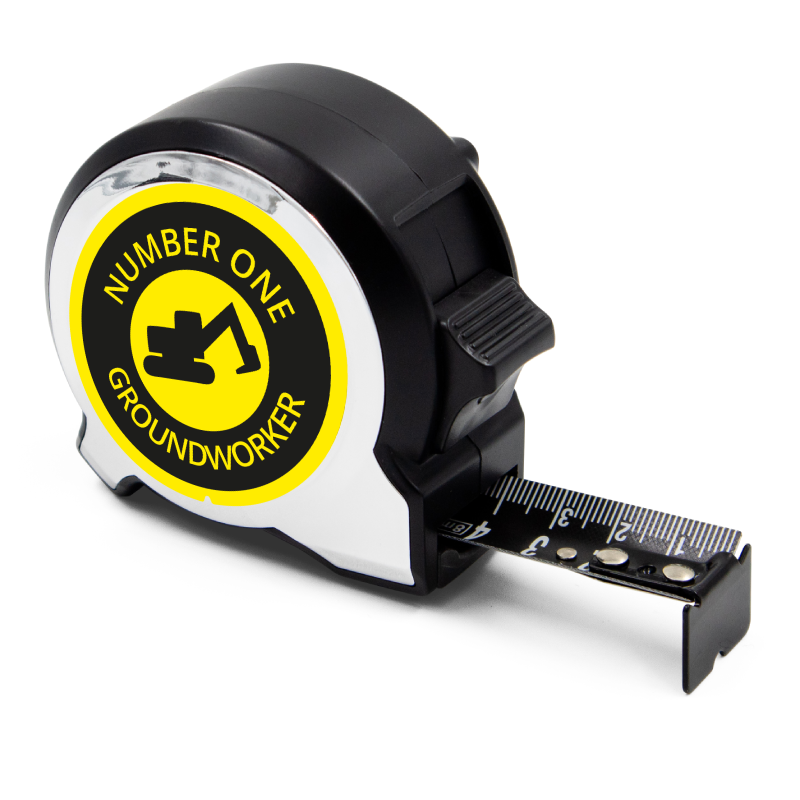 Personalised Black Edition 5m-16ft x 25mm Tape Measure - No1 Groundworker