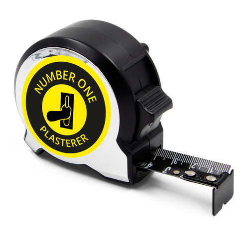 Personalised Black Edition 5m-16ft x 25mm Tape Measure - No1 Plasterer