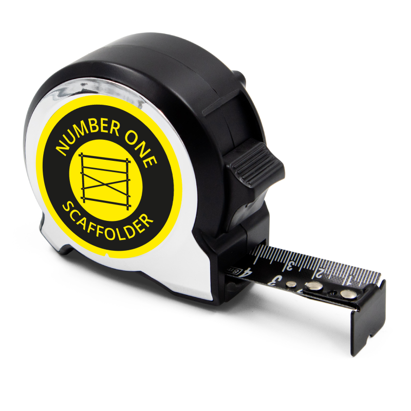 Personalised Black Edition 5m-16ft x 25mm Tape Measure - No1 Scaffolder