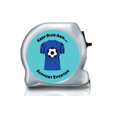 Load image into Gallery viewer, Personalised Dual Printed 5m-16ft Chrome Football Tape Measure - Everton FC