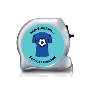 Personalised Dual Printed 5m-16ft Chrome Football Tape Measure - Everton FC