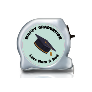 Personalised Dual Printed 5m-16ft Chrome Tape Measure - Happy Graduation