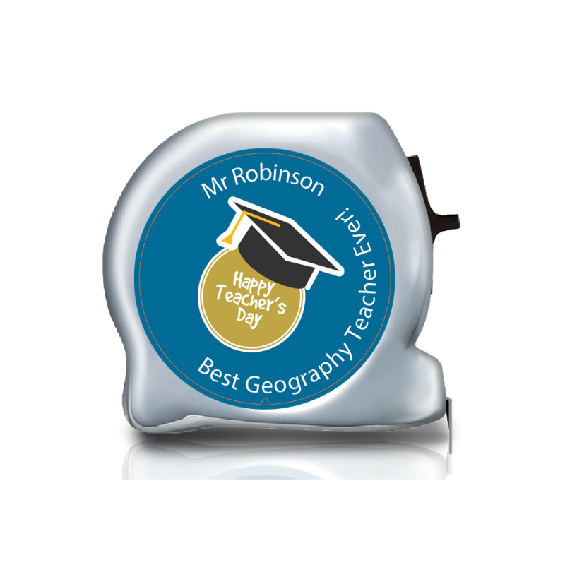 Personalised Dual Printed 5m-16ft Chrome Tape Measure - Happy Teachers Day