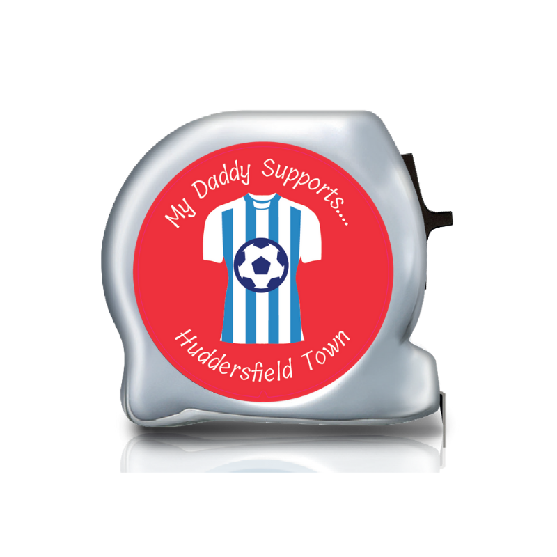 Personalised Dual Printed 5m-16ft Chrome Football Tape Measure - Huddersfield FC