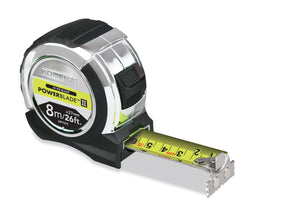 Komelon 8m/26ft x 27mm PowerBlade Metric & Imperial Tape Measure-MPT87E