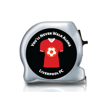 Load image into Gallery viewer, football themed gift ideas, football gifts, personalised football gifts, personalised football team themed presents, funky tape measure, personalised tape measure, personalised gift ideas, gifts for football fans, football themed gifts, liverpool fc, you'll never walk alone