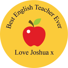 Load image into Gallery viewer, Personalised Dual Printed 5m-16ft Chrome Tape Measure - Teacher Apple