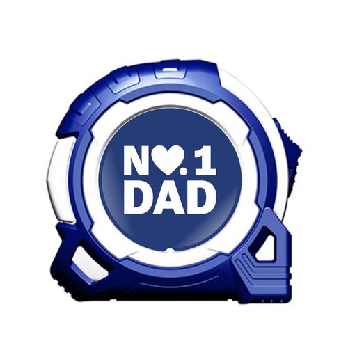 No1 Dad Heart 5m/16ft x 25mm Tape Measure Gift - Blue