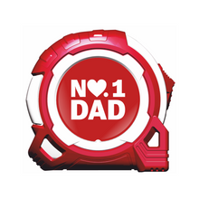 Load image into Gallery viewer, No1 Dad Heart 5m/16ft x 25mm Tape Measure Gift - Red