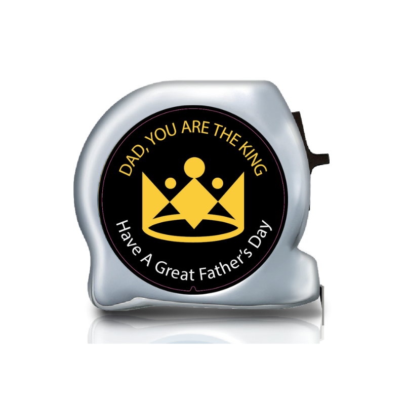 Personalised Dual Printed 5m-16ft Chrome Tape Measure - Dad You Are The King