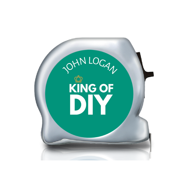 Personalised Dual Printed 5m-16ft Chrome Tape Measure -  King of DIY