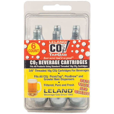 CO2 CARTRIDGES 16G THREADED PACK OF 6