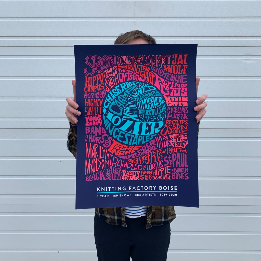 limited edition 7 color 18 x 24 screen print - knitting factory boise