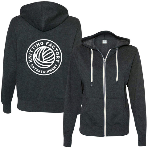 knitting factory entertainment zip-up hooded sweatshirt