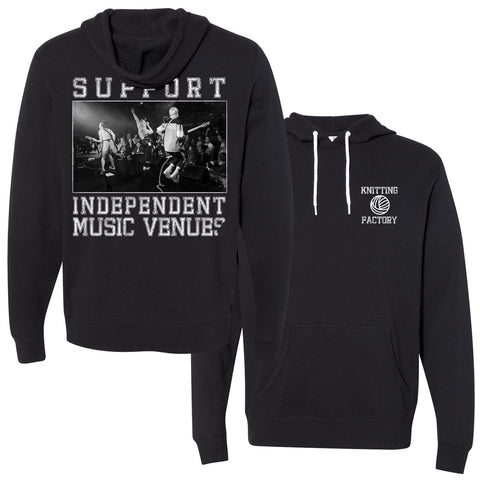 support independent music venues hooded sweatshirt