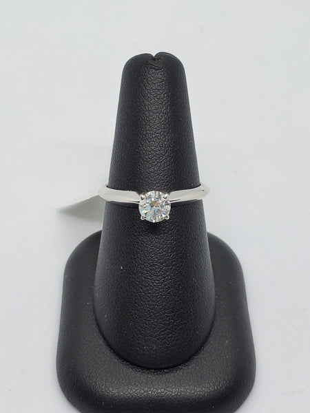14K WHITE GOLD 0.50CT STARLIGHT DIAMOND ENGAGEMENT RING
