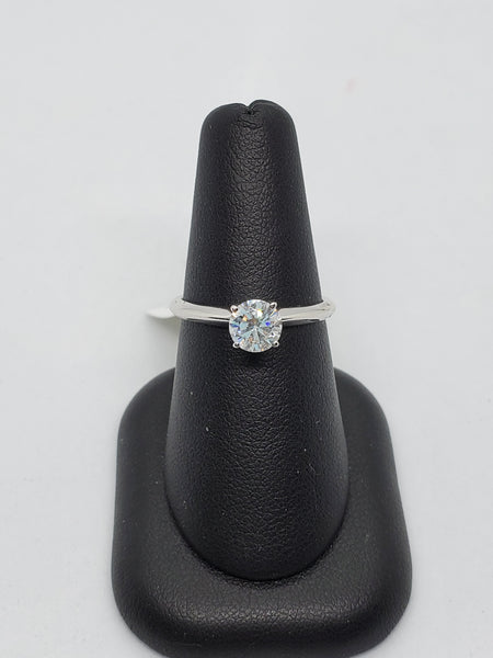 14K WHITE GOLD 0.71CT STARLIGHT DIAMOND ENGAGEMENT RING