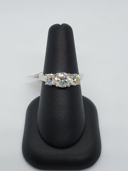 14K WHITE GOLD 3STONE 2.01CTW STARLIGHT DIAMOND RING