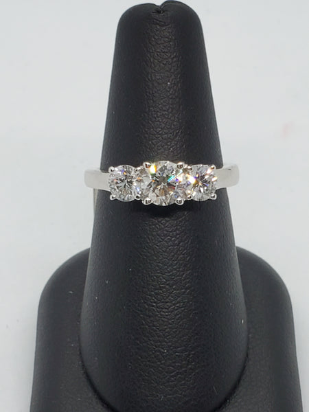 14K WHITE GOLD 3STONE 1.47CTW STARLIGHT DIAMOND RING