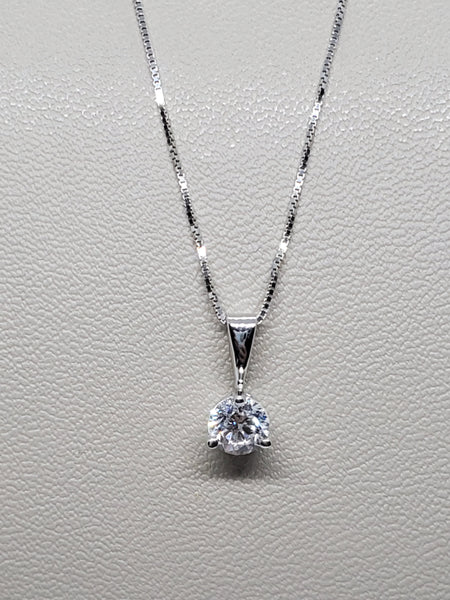 14K WHITE GOLD 0.44CT STARLIGHT DIAMOND SOLITAIRE PENDANT W/ BOX CHAIN