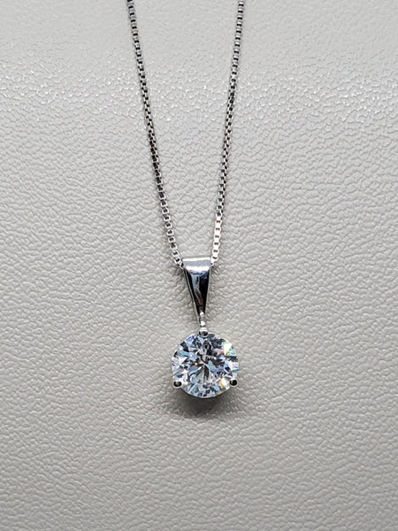 14K WHITE GOLD 0.73CT STARLIGHT DIAMOND SOLITAIRE PENDANT W/ BOX CHAIN