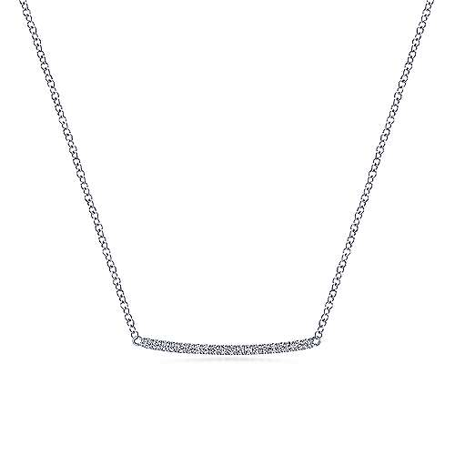 14K White Gold Curved Pavé Diamond Bar Necklace