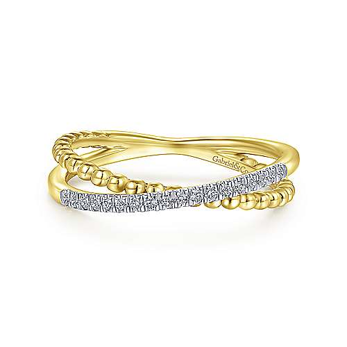14K Yellow Gold Beaded Pavé Diamond Criss Cross Ring