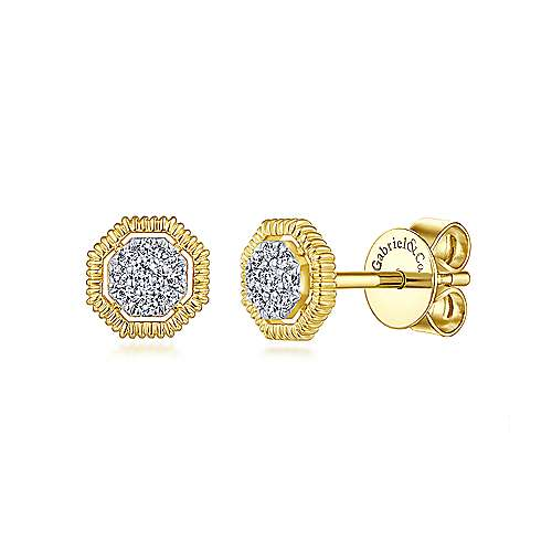 14K Yellow Gold Octagonal Pavé Diamond Stud Earrings