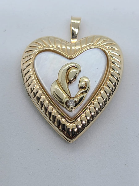 14K Yellow Gold Mother Child Locket Pendant