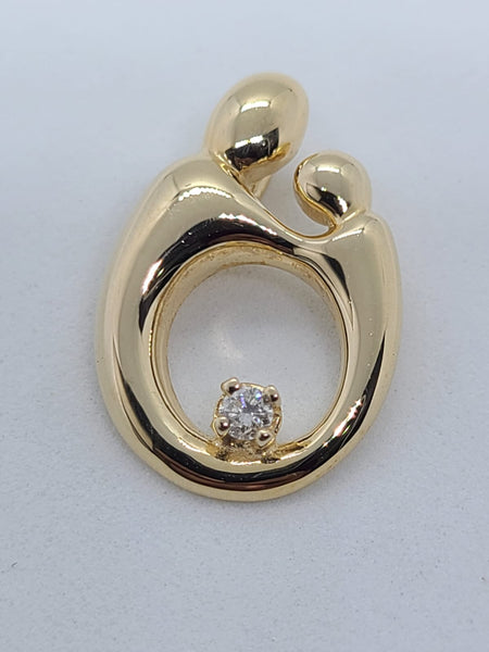 14K Yellow Gold Mother Child Pendant with Diamond