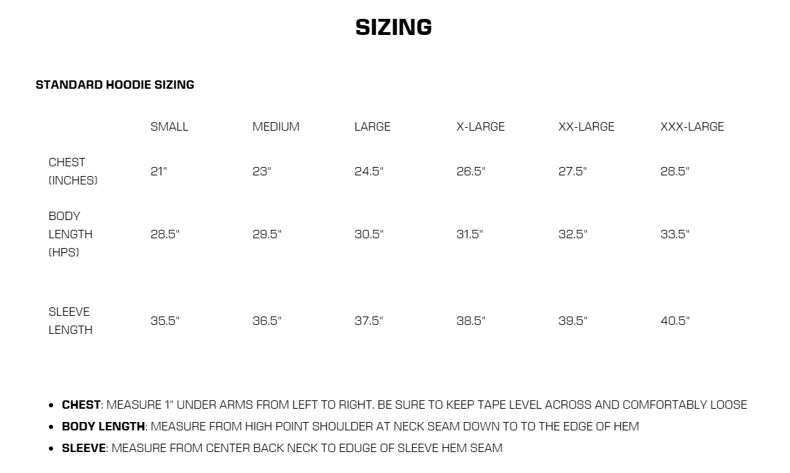 Size Chart Sample