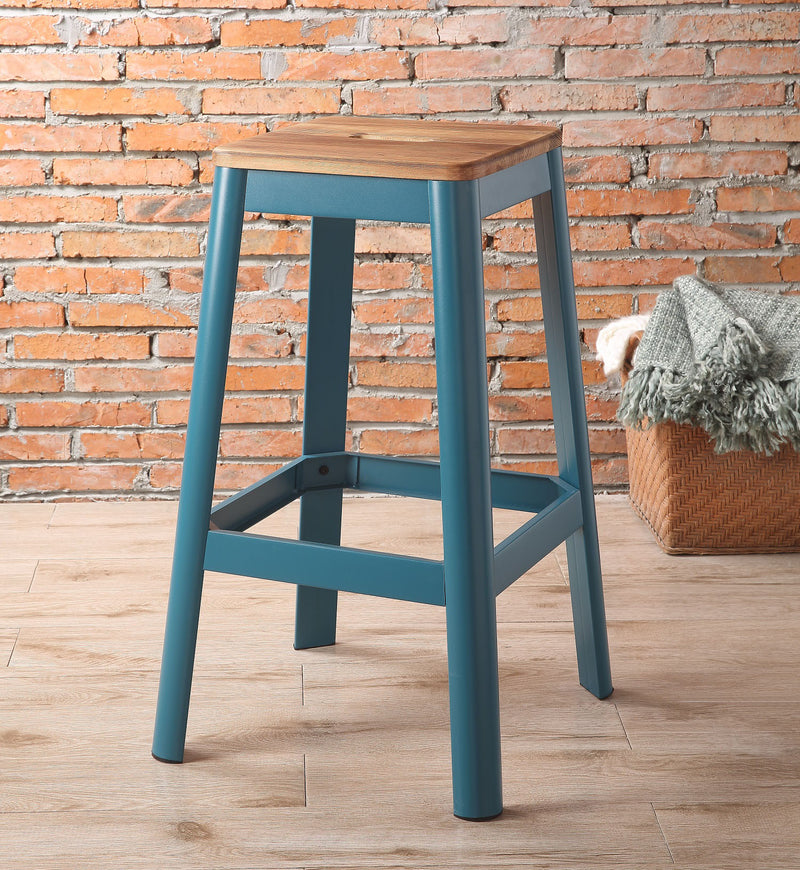 Jacotte Natural & Teal Bar Stool (1Pc) image